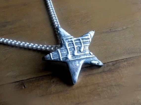 Music Note Star Necklace. Music Pendant, Music Jewellery, Music Gift, Music Charm, Star with Sheet Music, Musical Star Charm Necklace