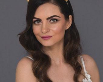 Gold leaf bridal headband,Greek goddess wedding crown,Grecian Laurel Leaf Tiara,Leaf Headband,boho crown,Leaf Halo,Queen Wedding Headpiece