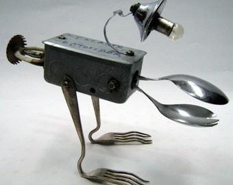 "Recycling RUSTY  ROBOT SCULPTURE -""Electric monster ""- assemblage art,metal sculpture,art sculpture,green art,reused sculpture"