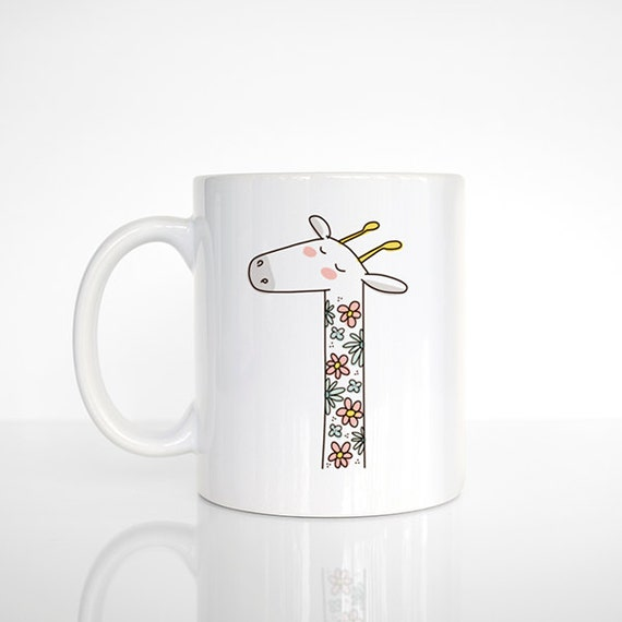 Flower Giraffe Mug, Floral Giraffe Coffee Mug, Girlfriend Gift, Giraffe Cup, Giraffe Coffee Cup, Funny Mug, Cute Mug, Coffee Lovers Gift