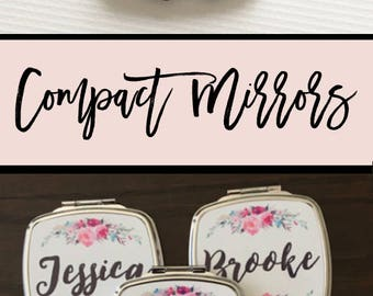 Bridesmaid Mirror, Mirror, Compact Mirror, Bridesmaid Gift, Wedding Shower Gift, Wedding Party, Personalized, Pale Pink, Custom Gift