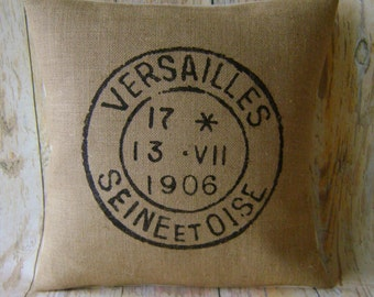 """French Stamp - 16"""" Hessian Jute burlap cushion/pillow cover Vintage French shabby chic country UK handmade"""