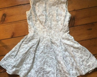Vintage Silver & White Dress 1960s Mod Mini Flared Skirt Fitted Waist Skater Dress Ice White