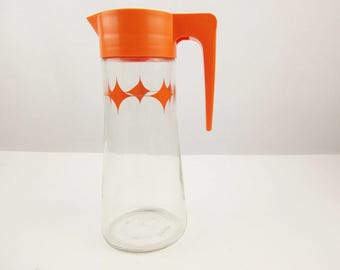 A Retro 'Tang' Pitcher With Diamonds - Vintage Glass Quart Tang Pitcher with Orange Plastic Lid - Kitchen Juices - Anchor-Hocking Glass