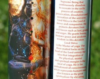 Powerful Shiva Shakti Ardaneshwara Mantra Meditation Candle with Swarovski Crystals