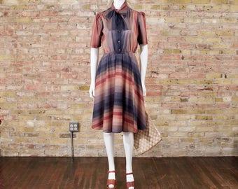 tie neck dress / striped dress / aline dress / secretary dress / midi dress / 70s midi / puff sleeve dress / muted dress / full skirt dress