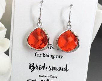 Dangle Earrings Drop Earrings Bridesmaid Earrings Bridesmaid Gifts Red Orange Wedding Orange Drop Earrings Wedding Orange Earrings