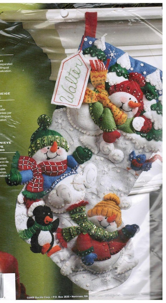 Plaid Bucilla Christmas Stocking Kit, Snow Fun Felt 86108