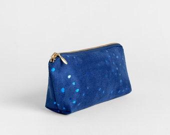 Blue Suede Makeup Bag - Vegan Pencil Case - Metallic Cosmetics Bag - Bridesmaids Gift - Minimal Make Up Bag - Indigo Dots Suede Pouch