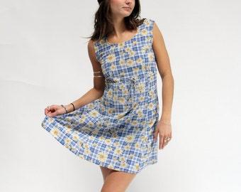 Vintage Daisy Dress | Vintage Floral Dress | 90s Daisy Dress | Vintage Plaid Dress | Boho Dress | Hippie Dress | Grunge Dress