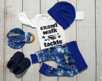 Baby Boy Dallas Cowboys Football Onesie Gift Set- Newborn Baby Boy Football Dallas Cowboys Coming Home Outfit *2 Purchasing Options*