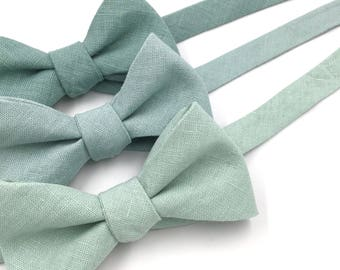 "Green Bow Tie, Mens Pale Blue Green ""Dusty Shale"" Bow Tie, Dusty Blue, Pale Dusty Mint, Green Bow Tie - Traditional Self-Tie or Pre-Tied"
