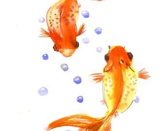 Artwork Two Goldfish, Koi fish art, original watercilor asian style painting, feng shui art, Asian art 12 X 9 in