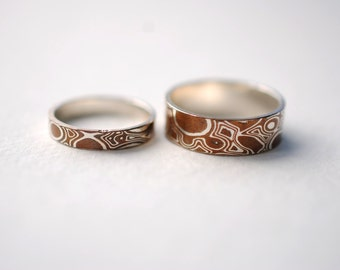 His and Hers Ring Set Wood Grain Metal Ring Band (Set of Two Sterling Silver & Copper Mokume Gane Rings)