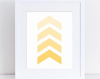 Yellow Nursery Art, Yellow Arrow Art, Yellow Art Printable, Yellow Arrows, Printable Art, Yellow Chevron Art, Gender Neutral , Digital Print