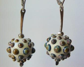 Rainbow Dots, Lampwork Glass Beads, Hammered Sterling, Lampwork Earrings, Handmade Glass Beads, Silver Glass