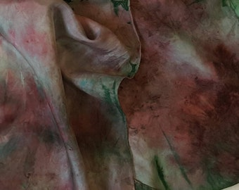 silk scarf hand painted Rambling Rose gray and white wearable art artbyevelynmarie woman gift coat scarf handpainted silk Mother