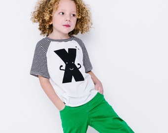 Classic Collection Monochrome Alphabet Raglan | CHOOSE Your Letter A-Z