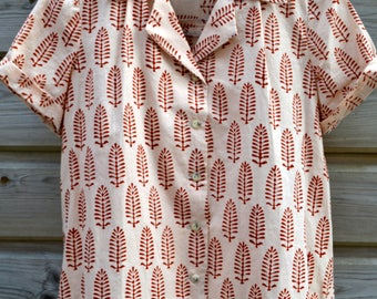 Aloha Retro Shirt hand printed fabric ecru/red size 10/38