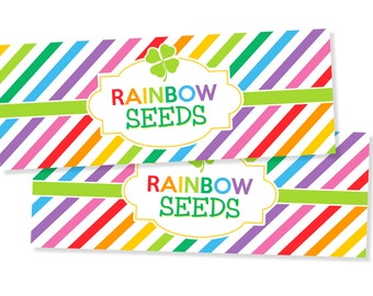 St. Patrick's Day Rainbow Seeds Treat Bag Labels INSTANT DOWNLOAD - St. Patrick's Day Decorations