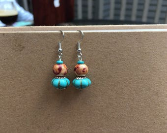 CLEARANCE - Handmade Wooden and Teal Bead Dangle Earrings