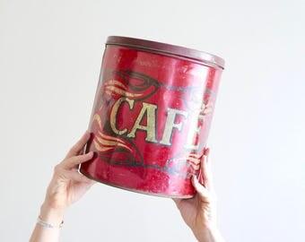 "XXL metal box "" Café "" (= Coffee ), French ART NOUVEAU decor from 1910s, De Duffel Shabby Chic Kitchen Cottage France Restaurant Bistrot"