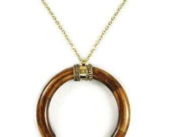 Wood Crescent Half Moon Pendant Long Layering Bohemian Necklace