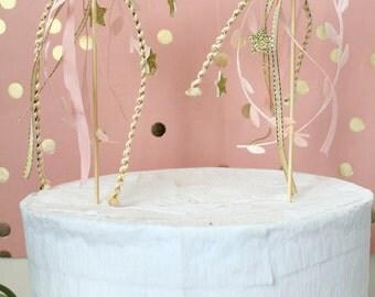 Enchanting Bohemian Woodland Happy Birthday Birch Cake Banner Topper/Decor - Whimsical - Rustic - Glitter Stars - SALE