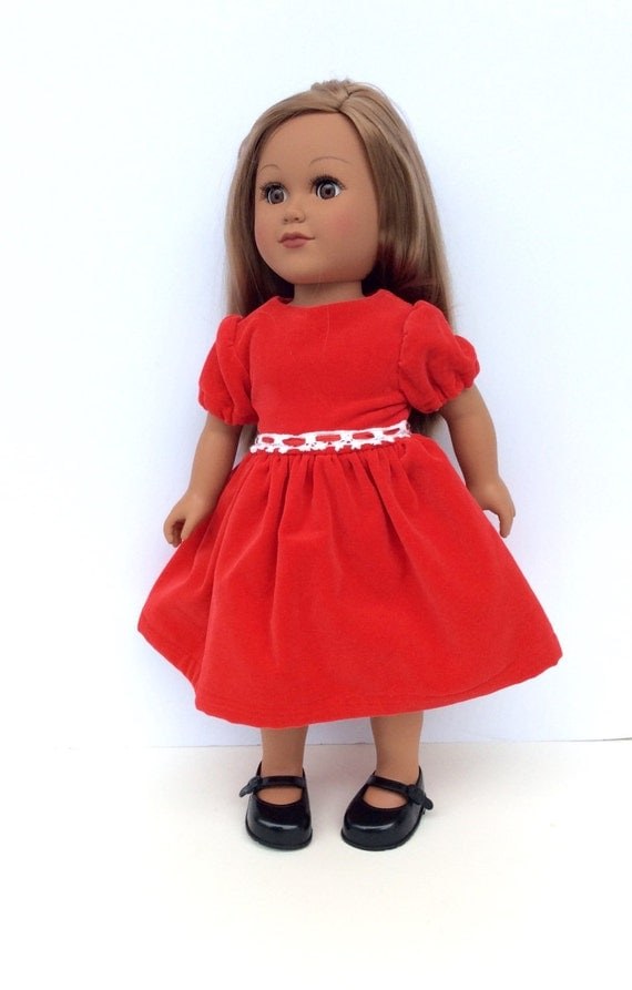 18 inch doll clothes red velveteen doll dress christmas doll dress