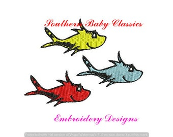 One Two Red Blue Fish Dr Seuss Cat in The File for Embroidery Machine Monogram Instant Download Character Book Nautical Boy Cute School