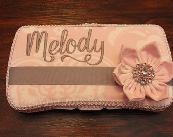 NEW Baby Soft Pink and Soft Grey Flower Boutique Wipe Case, Diaper Bag Necessity