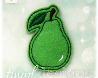 """Pear Fruit Feltie Digital Design File - 1.75"""""""