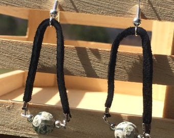 Agate Earrings on Black Suede FREE SHIPPING