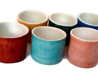 Ceramic shot glass, Portuguese pottery, handmade shot glass, ceramic barware, ceramic espresso cup, small ceramic cute cup hand thrown