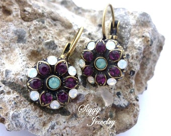 Swarovski Crystal Flower Earrings, Victorian Style, Amethyst, Opals, Antique Brass, Cluster, Lever Back Drops, FREE SHIPPING, Siggy Jewelry