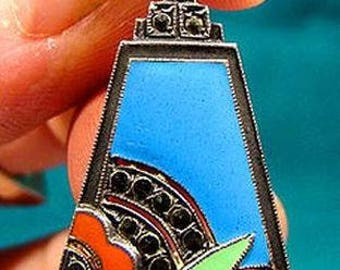 Outstanding Art Deco STERLING Silver ENAMEL Marcasites Pendant Necklace 1930
