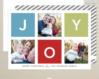 FREE SHIPPING!  Joy Multi Photo Holiday Card - Peace, Love and Joy - Family Photo - Modern Christmas Card - Personalized - Photo Card