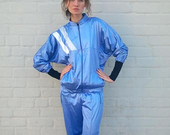 Blue playsuit, two piece tracksuit, blue windbreaker, sports suit, blue jumpsuit, sportswear, men tracksuit, workout set, L/M