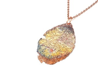 copper rainbow necklace real leaf pendant electroplated boho jewelry gift for her botanical necklace nature jewelry