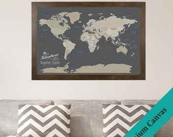 CANVAS Personalized Earth Toned World Travel Map   Push Pin Travel Map    Canvas World Map