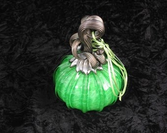 Little Bright Green Hand Blown Glass Pumpkin T251