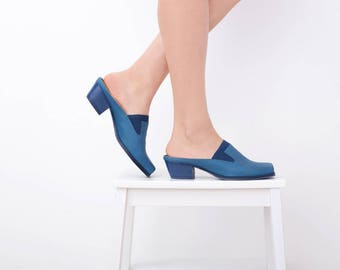Women's Clogs Shoes, Blue leather Slip-Ons shoes, handmade Free shipping slides On Sale 20% off