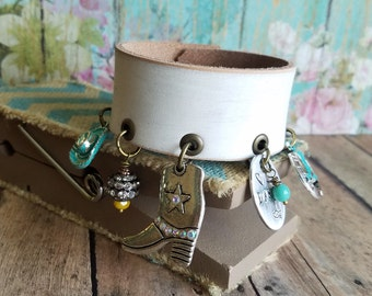 ChArM Bracelet Leather Cuff> Hand Made Leather Jewelry/ Charm Bracelet/ Country Music/ Line Dancing/ Country Chic/ Cowgirl/ Cowboy Boots