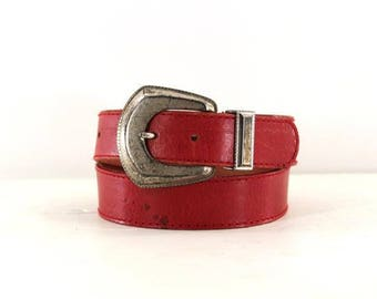 red leather belt • Liz Claiborne belt • silver buckle belt S