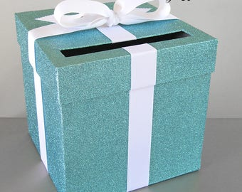 "Blue Glittered and White  Ribbon Wedding Card Box - 9"" w x 9"" h-Choose your colors"