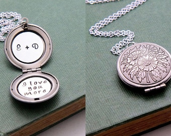 Personalized Locket Necklace, Locket Necklace, Initial Locket, Quote Locket Necklace, Monogram Necklace, Anniversary Necklace, Gift for Her