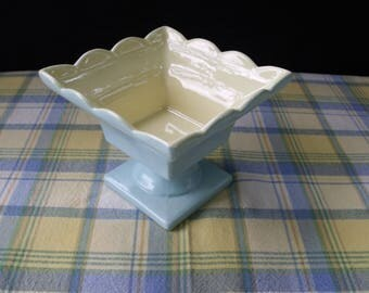 Hull Pottery Pedestal Planter Pastel Blue and Yellow