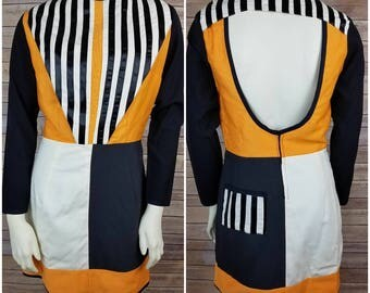 Handmade Mod Orange, Black Ivory Striped Dress with Back Cut Out & Long Sleeves- Women's Size Small/6