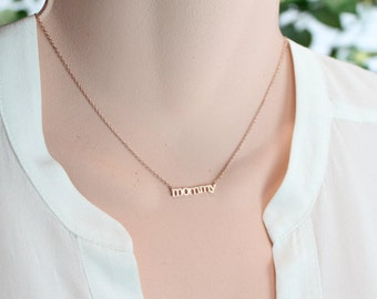 Mommy Necklace, Gold/Silver/Rose Gold Necklace, Choker Length, Mother's Day Gift, Maternity, Pregnant, NewMom