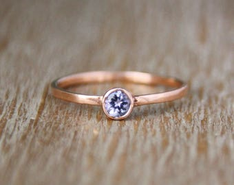 Tanzanite Ring Engagement Ring in 14k Rose Gold, Handmade Engagement, Eco Friendly, Blue Gemstone, Promise Ring, Gift for Her, wedding